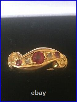 Antique Victorian 18ct gold Ruby & diamond Ring size L