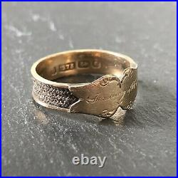 Antique Victorian 9 Carat Gold and Woven Hair Mourning Band Ring