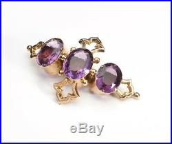 Antique Victorian 9K Gold Amethyst Brooch Large Trinity Cross Antique 9ct Pin