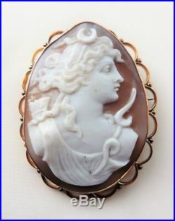 Antique Victorian 9ct Gold Large Cameo Brooch