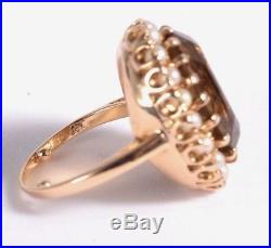 Antique Victorian 9ct Gold Large Citrine & Pearl Ring Size L 9.9g 14ct citrine