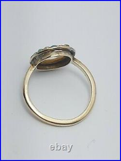 Antique/Victorian 9ct Gold Real Turquoise And Sea Pearl Ring 2.8g circa 1890 (L)