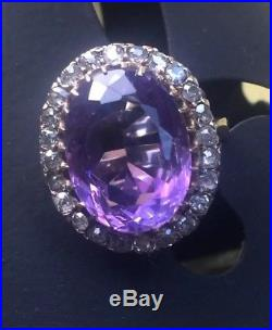Antique Victorian Amethyst Old European Diamond large-scale Gold Ring