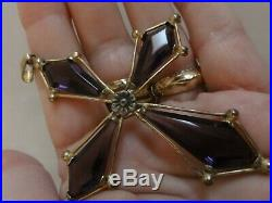 Antique Victorian Awesome Gold Plated AMETHYST COLORED GLASS Large Cross Pendant