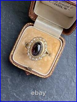 Antique Victorian Cabochon Garnet Pearl Halo Yellow Gold Ring Band Pretty