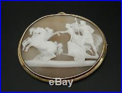 Antique Victorian Cameo 14ct Gold, Large, Alexander The Great Pendant / Brooch