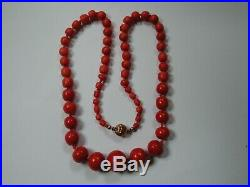 Antique Victorian Chinese Large Natural Coral Red Graduated Necklace Gold Lock