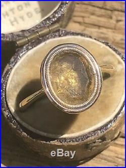 Antique Victorian Citrine Yellow Gold Ring Large Oval Closed Back