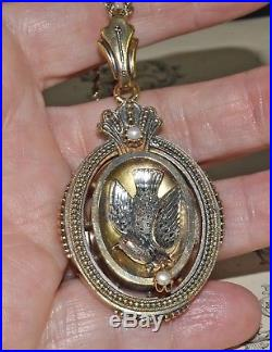 Antique Victorian Gold Filled Bird & Pearl Large Locket Pendant Necklace