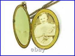 Antique Victorian Gold Filled Curb Chain Large Locket Ladies Necklace 28.4g B9