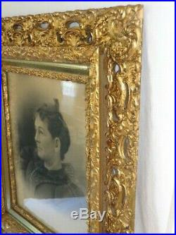 Antique Victorian Gold Gilt Besso Openwork Large Wood Picture Frame Nice