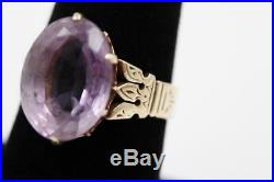 Antique Victorian Heavy 10k Solid Rose Gold Large Amethyst Size 8.75 Ring