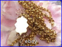 Antique Victorian Heavy 14ct 14k Gold Gf Large Pearl Slide Chain Necklace