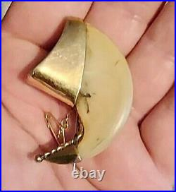 Antique Victorian Indian Raj Very Large Gold Big Cat Claw Brooch c1900