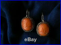 Antique Victorian Large 14K Gold Red Coral Cameo Earrings 1 1/4 Pierced