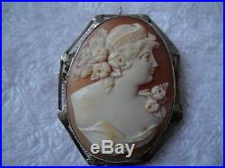Antique Victorian Large 14k White Gold Filigree Hand Carved Shell Lady Cameo