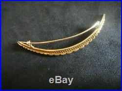 Antique Victorian Large 15ct Gold & Seed Pearl Crescent Brooch Pin