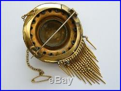 Antique-Victorian-Large 15ct Gold/Turquoise/Diamond Set Etruscan Brooch-c1870's
