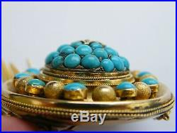 Antique-Victorian-Large 15ct Gold/Turquoise/Diamond Set Ornate Brooch-c1870's