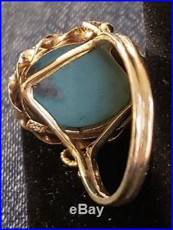 Antique Victorian Large Blue Turquoise Cabachon 14kt Yellow Gold Cocktail Ring