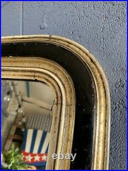 Antique Victorian Large Ebonised Overmantle Mirror Black Gold Gilt Foxed 106cm