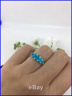 Antique Victorian Large Five Stone Turquoise 18ct Gold Ornate Ring