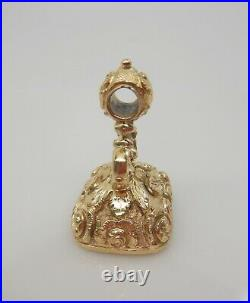 Antique Victorian Large Gold Cased Ornate Fob, Seal, Charm, Pendant
