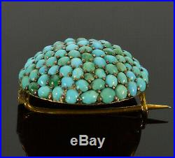 Antique Victorian Large Turquoise Pave Gilded Sterling Brooch Pin C 1860