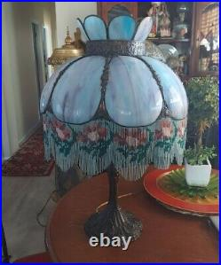 Antique Victorian Pink Blue Slag Glass Lamp with Beaded Floral Fringe So Pretty