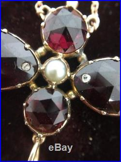 Antique victorian rose gold large garnet pearl and diamond pendant antique victorian rose gold large garnet pearl and diamond pendant on chain aloadofball Choice Image