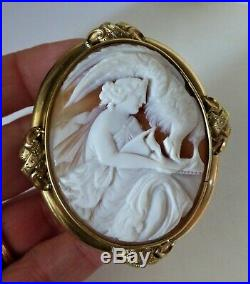 Antique Victorian Shell Cameo Goddess Hebe Feeding Zeus Large Gold Plated Mount
