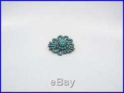 Antique Victorian Silver Gold Vermeil Persian Turquoise Large Bow Brooch
