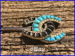 Antique Victorian Turquoise Banded Agate Large Gold Pendant