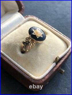 Antique Victorian Yellow Gold Black Enamel And Pearl Star Mourning Ring Locket