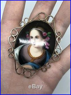 Antique Victorian Yellow Gold Super Size Large Oval Portrait Painted Brooch