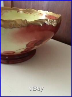 Antique Vintage Large 10 Limoges Serving Punch Bowl Cherry Gold Hand Painted