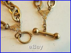 Antique Watch Chain Victorian Necklace Gold Filled Large Link Unique Nice 75g