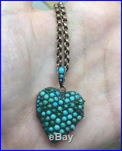 Antique Yellow Gold Turquoise Heart Locket 20 Chain Victorian Large Size