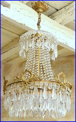 BACCARAT Large Antique French Empire Victorian Crystal Bronze Chandelier 6Lights