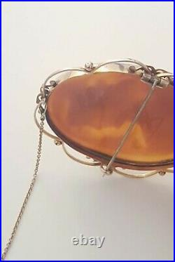 Beautiful Large Antique Victorian Gold Cameo Brooch Signed