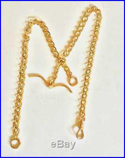 Double Albert Chatelaine14k Gold- large Fancy Link Watch Chain- 33 grams 14 kt