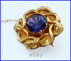 EXCEPTIONAL ANTIQUE LARGE GEORGIAN VICTORIAN AAA 4.2ct AMETHYST 18ct GOLD BROOCH