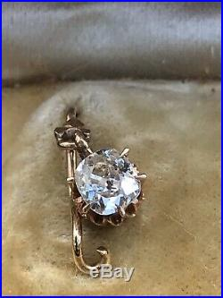 Early Victorian Yellow Gold And Large Old Mine Cut Diamond Solitaire Earrings