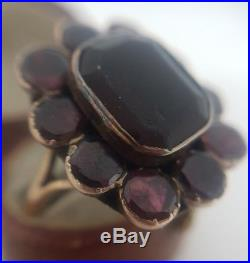Extra Large Victorian Yellow Gold Flat Cut Garnet Cluster Ring Band