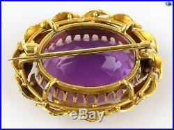 Fine 1950s Victorian Vintage Large Oval 18K Yellow Gold and Amethyst Brooch/Pin