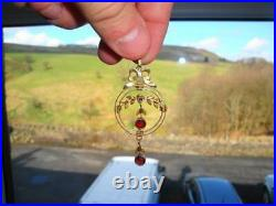 Fine Antique Large Gold Victorian Seed Pearl & Ruby Lavalier Necklace Pendant