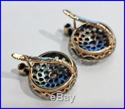 Fine Antique Victorian Gold & 3.90ct Rose Diamonds Very Large Sparkling Earrings