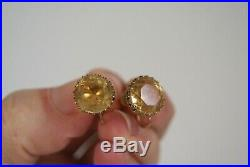 Fine Antique Victorian Large 18 Ct Gold 8.00 Ct Citrine Gemstone Earrings 3.9 G
