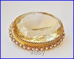 Fine Antique Victorian Scottish Large 9ct Gold Citrine & Seed Pearl Brooch c1885