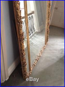 French Palm Vintage Victorian Leaf Large Wall Mirror Gilt Gold Frame